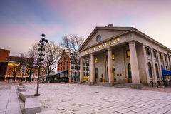 Faneuil Hall and the Boston skyline. Faneuil Hall and Quincy market in Boston USA stock images
