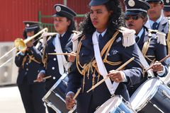 fanfara al funerale di ex presidente etiopico Dr Negasso Gidada fotografie stock libere da diritti