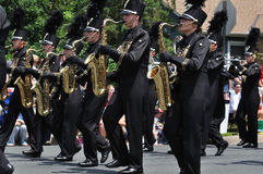 Fanfara della High School di Waconia nella parata Fotografie Stock