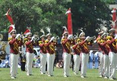 Fanfara della polizia dell'Indonesia Fotografie Stock Libere da Diritti