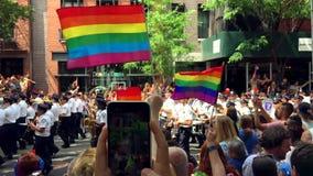 Fanfara di NYPD di orgoglio di New York stock footage