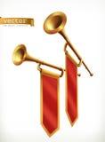 Fanfare. Gold trumpet. Vector icon. Fanfare. Gold trumpet. 3d vector icon Stock Image