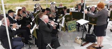 Fanfarekorps bij de 200 jaarviering van het Kanaal van Leeds Liverpool in Burnley Lancashire Royalty-vrije Stock Afbeeldingen