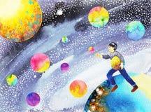 Fangen Sie Ihre Träume, den glücklichen Jungen, der zu erfolgreichem im Universum läuft Stockfoto