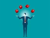 Fangendes werfendes Wort 2017 des Geschäftsmannes auf rotem Kasten Stockfotos