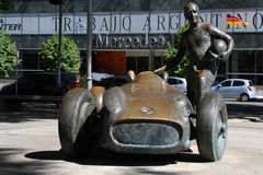 Fangio and his Mercedes in Buenos Aires. Statue of Juan Manuel Fangio, on December 22 in Buenos Aires, Argentina. Fangio was the most famous racing driver in the Stock Photo