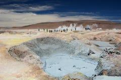 Fango d'ebollizione Giacimento geotermico di Sol de Manana Riserva di Eduardo Avaroa Andean Fauna National bolivia immagini stock libere da diritti