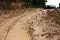 Fangoso mojado del camino Foto de archivo