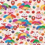 Fangruppen-Regenbogens Maneki Neko nahtloses Muster des fetten stock abbildung