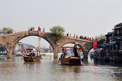 Fangsheng Bridge in town of Zhujiajiao Stock Image