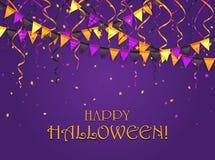 Fanions et flammes de Halloween sur le fond violet Photo stock