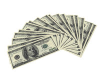 Fanned dollar notes. 3d render of fanned dollar notes on white background Royalty Free Stock Image