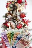 Fanned euro notes close up christmas tree in background Stock Images