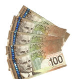 Fanned out Canadian hundred dollar bills. Fanned out new Canadian hundred dollar bills Royalty Free Stock Images