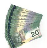 Fanned out Canadian twenty dollar bills. Fanned out new Canadian twenty dollar bills Royalty Free Stock Photo