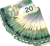 Fanned out Canadian twenty dollar bills. Fanned out new Canadian twenty dollar bills Stock Photography