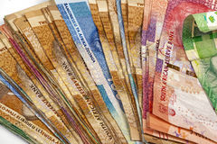 Fanned Out Collection of South African Bank Notes Stock Photo
