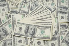 Fanned out US dollar bills Royalty Free Stock Photo
