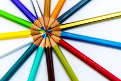 Fanned pencils Stock Photo