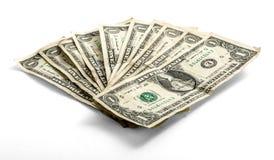 Fanned usou as notas de dólar uma Fotos de Stock