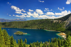 Fannette Island in Emerald Bay at Lake Tahoe, California, USA. Lake Tahoe is the largest alpine lake in North America stock photo
