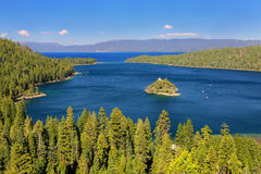 Fannette Island in Emerald Bay at Lake Tahoe, California, USA. Lake Tahoe is the largest alpine lake in North America stock photos