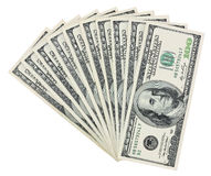 100 fanning Dollar Bills. Benjamin Franklin 100 fanning Dollar Bills isolated on White Royalty Free Stock Photos