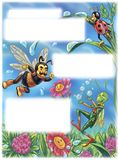 Cartoon insects playing with water dew drops Stock Image