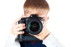 Fanny Boy is holding camera and taking a photo stock photos