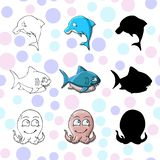 Fanny cartoon illustration dolphin octopus shark. vector illustration