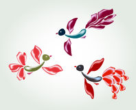 Fanny fairy glass birds and flowers. EPS10 vector illustration Stock Photos