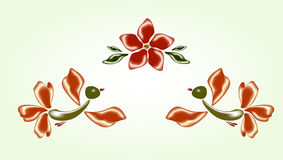 Fanny fairy glass birds and red flower. EPS10 vector illustration Stock Image