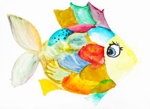 Fanny fish with multicolored scales drawn. Hand painted fanny fish with multicolored scales drawn by watercolors on white paper Stock Photos