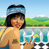 Fanny girl with cocktail in nature. Illustration Stock Image