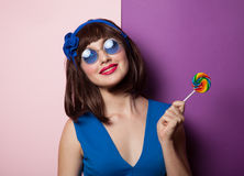 Fanny girl with lolipop stock images
