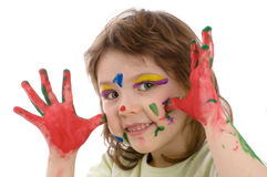 Fanny girl with painted hands. And face, isolated on white Royalty Free Stock Image