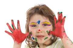 Fanny girl with painted hands Royalty Free Stock Photo