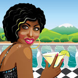 Fanny mulatto girl with cocktail in nature. Illustration Royalty Free Stock Photos