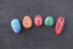 Fanny, nome dado feminino composto com as multi pedras coloridas imagens de stock