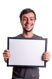 Fanny smiling guy showing sign Stock Image
