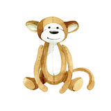 Fanny toy monkey. Watercolor illustration. Watercolor illustration of toy monkey royalty free illustration