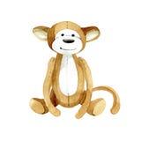 Fanny toy monkey. Watercolor illustration. Stock Image