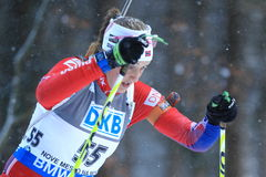 Fanny Welle-Strand Horn - biathlon. Fanny Welle-Strand Horn from Norway in women 10 km pursuit race within biathlon world cup 2014/2015 held on Nove Mesto na Stock Photos