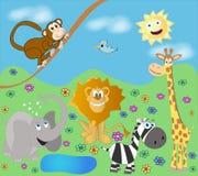 Fanny zoo. Many animal in fanny cartoon zoo -  illustration Royalty Free Stock Photography