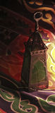 Fanoos. Islamic lamp in moody light - Khyamia background Stock Photos