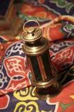 Fanoos. Islamic lamp in moody light - Khyamia background Royalty Free Stock Image