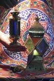 Fanoos. Islamic lamp in moody light - Khyamia background Stock Image