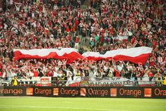 Fans. Polish fans in Slaski stadium during the 2010 FIFA World Cup qualification match between Poland and Northern Ireland on September 5, 2009 in Chorzow Royalty Free Stock Image