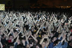 Fans. A lots of fans at Tuborg Green Fest at Bucharest. Rock festival Stock Photography