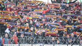 Fans of AC Sparta Prague. HRADEC KRALOVE 04/04/2015 _ Match between FC Hradec Kralove and AC Sparta Praha Royalty Free Stock Photos